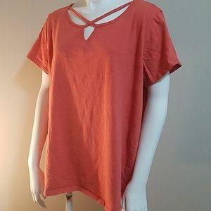 French Laundry Orange Short Sleeve Tee Shirt